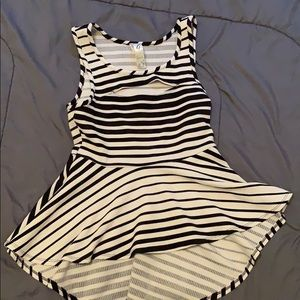 Tops - Peplum striped black and white shirt with cut out
